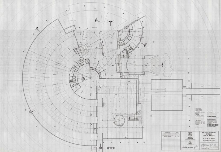 Imagen de apoyo de  Planos de la planta del primer nivel de la Biblioteca Pública Virgilio Barco