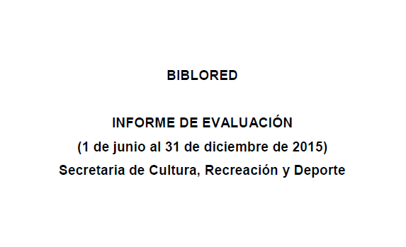 Imagen de apoyo de  BibloRed: informe de evaluación. 1 de junio al 31 de diciembre de 2015