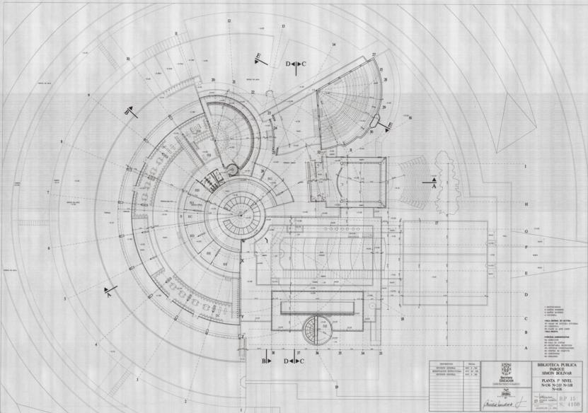 Imagen de apoyo de  Planos de la planta del tercer nivel de la Biblioteca Pública Virgilio Barco