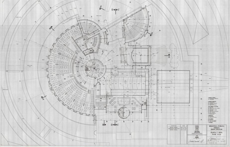 Imagen de apoyo de  Planos de la planta del segundo nivel de la Biblioteca Pública Virgilio Barco