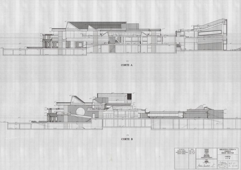 Imagen de apoyo de  Planos con cortes laterales de la Biblioteca Pública Virgilio Barco