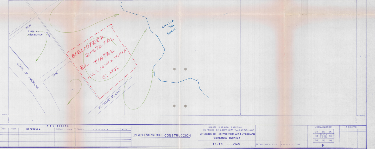 Imagen de apoyo de  Planos de construcción de la Biblioteca Pública El Tintal Manuel Zapata Olivella