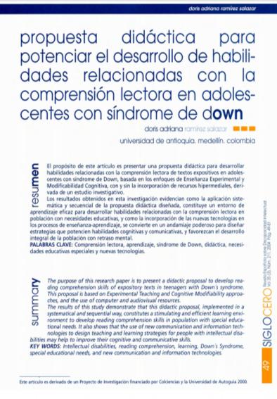 Imagen de apoyo de  Propuesta didáctica para potenciar el desarrollo de habilidades relacionadas con la comprensión lectora en adolescentes con síndrome de Down