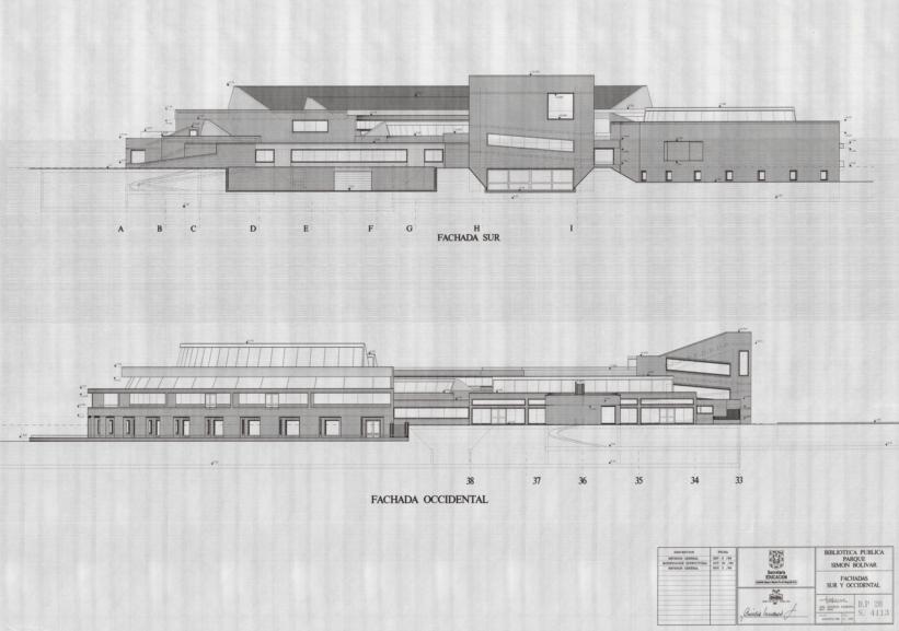 Imagen de apoyo de  Planos de las fachadas sur y occidental de la Biblioteca Pública Virgilio Barco