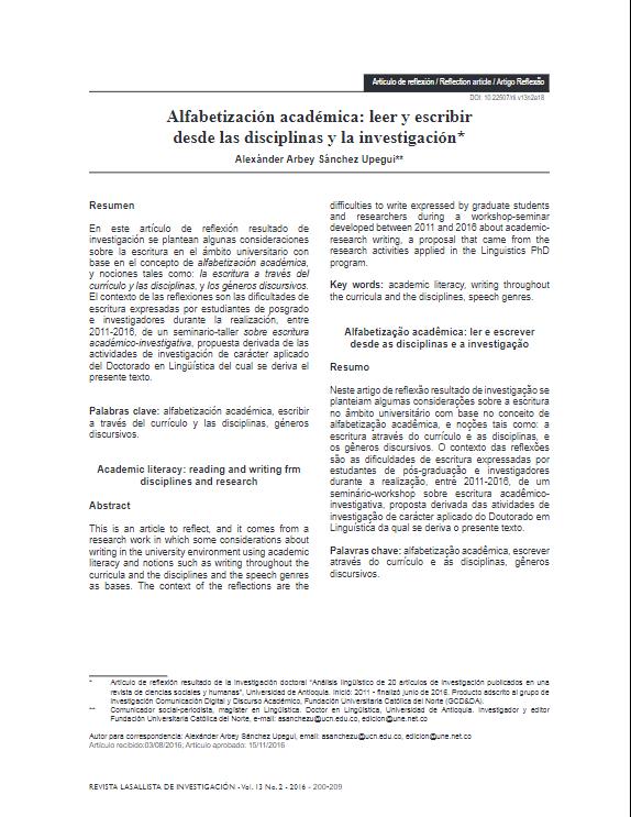 Imagen de apoyo de  Alfabetización académica: leer y escribir desde las disciplinas y la investigación