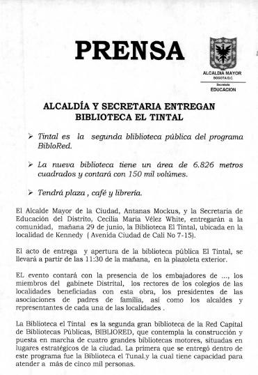 Imagen de apoyo de  Nota de prensa sobre la apertura de la Biblioteca Pública El Tintal Manuel Zapata Olivella