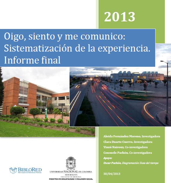 Imagen de apoyo de  Oigo, siento y me comunico: sistematización de la experiencia. Informe final
