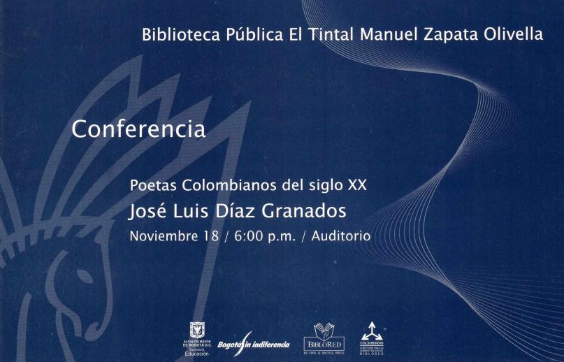 """Imagen de apoyo de  Pieza de divulgación de la conferencia """"Poetas colombianos del siglo XX"""""""