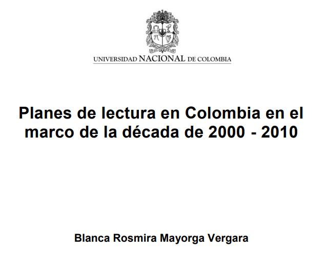 Imagen de apoyo de  Planes de lectura en Colombia en el marco de la década de 2000-2010