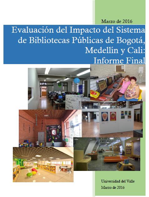 Imagen de apoyo de  Evaluación del impacto del Sistema de Bibliotecas Públicas de Bogotá, Medellín y Cali: informe final
