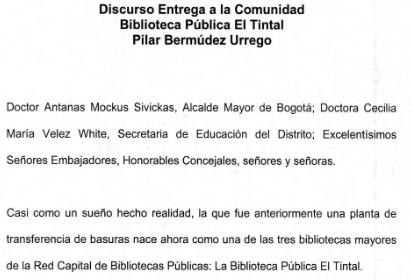 Imagen de apoyo de  Discurso entrega a la comunidad de la Biblioteca Pública El Tintal Manuel Zapata Olivella