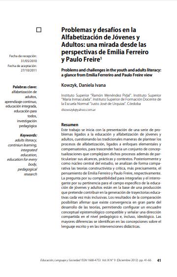 Imagen de apoyo de  Problemas y desafíos en la alfabetización de jóvenes y adultos: una mirada desde las perspectivas de Emilia Ferreiro y Paulo Freire.