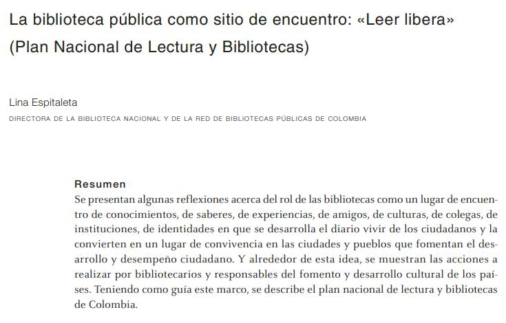 """Imagen de apoyo de  La biblioteca pública como sitio de encuentro: """"Leer libera"""" (Plan Nacional de Lectura y Biblioteca)"""