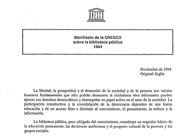 Imagen de apoyo de  Manifiesto de la IFLA/Unesco sobre la Biblioteca Pública 1994