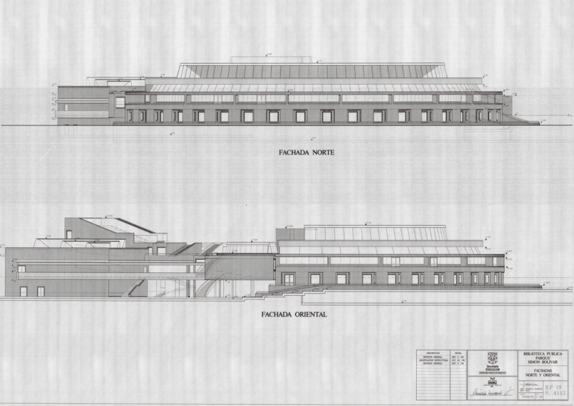 Imagen de apoyo de  Planos de las fachadas norte y oriental de la Biblioteca Pública Virgilio Barco