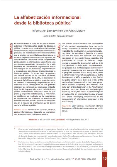 Imagen de apoyo de  La alfabetización informacional desde la biblioteca pública.