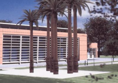 Proyección en render del área exterior de la Biblioteca Pública El Tunal Gabriel García Márquez.