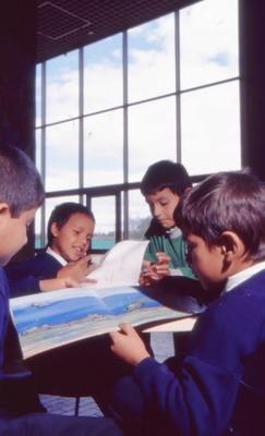 Niños leyendo en la Biblioteca Pública El Tintal Manuel Zapata Olivella. Fotografía 3