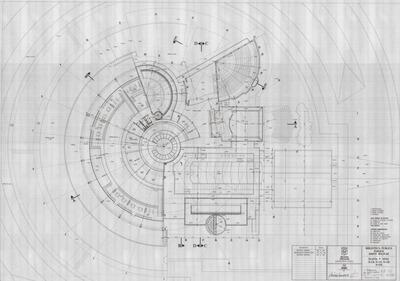 Planos de la planta del tercer nivel de la Biblioteca Pública Virgilio Barco