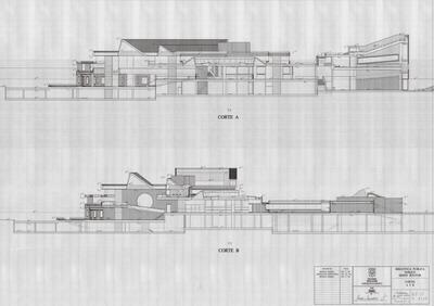 Planos con cortes laterales de la Biblioteca Pública Virgilio Barco