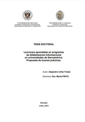 Lecciones aprendidas en programas de alfabetización informacional en universidades de Iberoamérica. Propuesta de buenas prácticas.