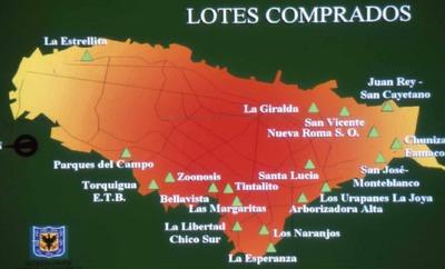 Mapas de lotes de colegios donde se construirían bibliotecas escolares