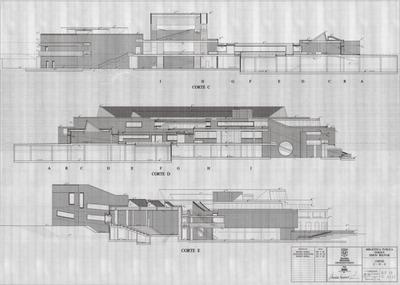 Planos con cortes laterales de la Biblioteca Pública Virgilio Barco. Parte 2