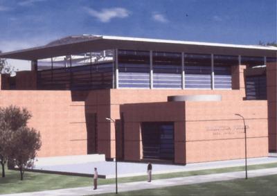 Proyección en render del área exterior de la Biblioteca Pública El Tunal Gabriel García Márquez. Fotografía 2