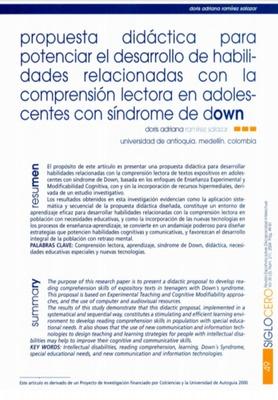 Propuesta didáctica para potenciar el desarrollo de habilidades relacionadas con la comprensión lectora en adolescentes con síndrome de Down