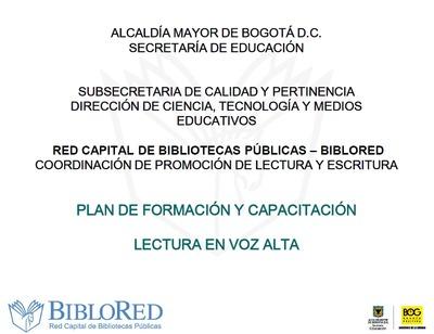 """Presentación del programa de formación y capacitación: """"Lectura en voz alta"""""""
