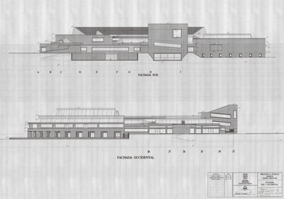 Planos de las fachadas sur y occidental de la Biblioteca Pública Virgilio Barco