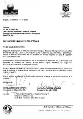 Carta de notificación de entrega de la estatuilla por el Premio de la Fundación Bill & Melinda Gates a la Red Distrital de Bibliotecas Públicas. BibloRed