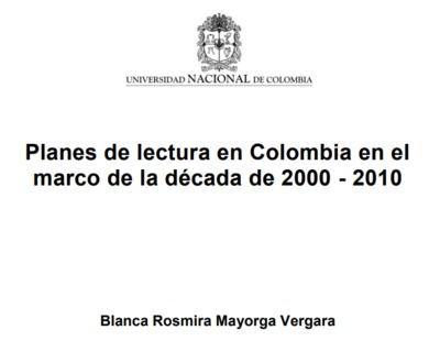 Planes de lectura en Colombia en el marco de la década de 2000-2010