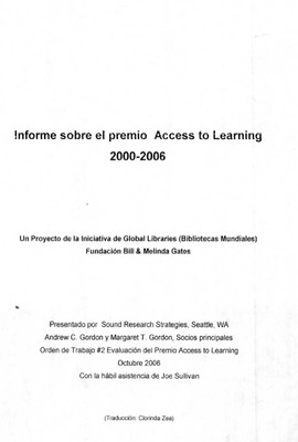 Informe sobre el Premio Access to Learning 2000-2006