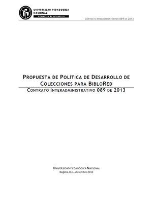 Propuesta de política de desarrollo de colecciones para BibloRed