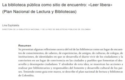 """La biblioteca pública como sitio de encuentro: """"Leer libera"""" (Plan Nacional de Lectura y Biblioteca)"""