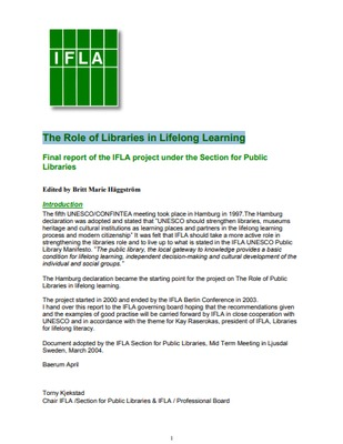 The role of libraries in lifelong learning