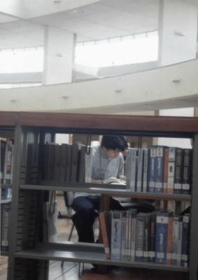Usuario leyendo en la Biblioteca Pública Virgilio Barco