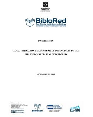 Caracterización de los usuarios potenciales de las bibliotecas públicas de BibloRed: investigación