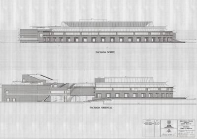 Planos de las fachadas norte y oriental de la Biblioteca Pública Virgilio Barco