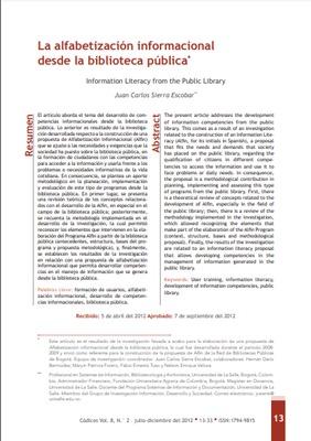 La alfabetización informacional desde la biblioteca pública.